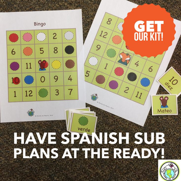 Use our Sub Tub Kit to make sub plans for your elementary Spanish classes-once done, you never have to make sub plans again! Mundo de Pepita, Resources for Teaching Spanish to Children