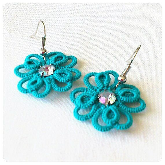Turquoise  Tatted Earrings - Multilayered Tatted  Lace
