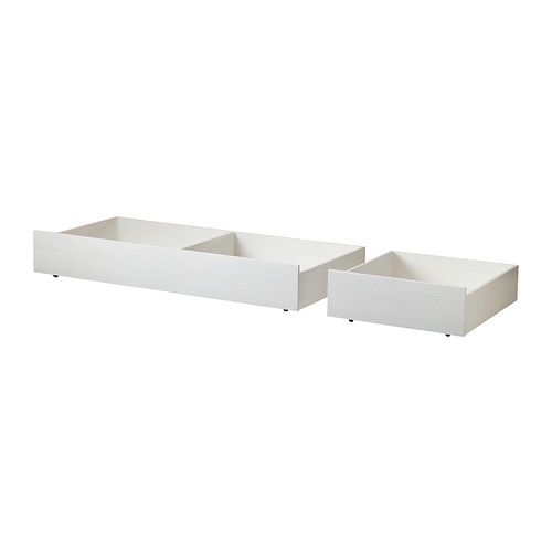 IKEA - BRUSALI, Bed storage box, set of 2, Full/Double, , You get a lot of extra storage under the bed frame if you complement with 2 or 4 bed storage boxes.Smooth running castors make content easily accessible.