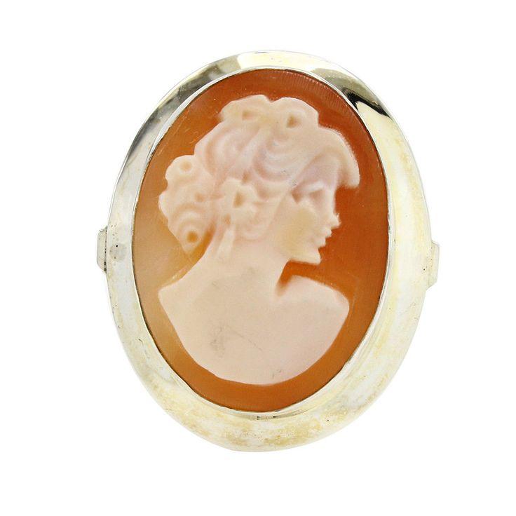 14K White Gold Over Cameo Band Ring Size 9 #JewelryAuctionHouse #BAnd #EngagementWeddingAnniversaryValentines