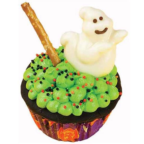 Boilin' Cauldron Cupcakes - Little goblins are expecting treats for Halloween. Here we�ve topped a cupcake with a Boiling Cauldron of candy-coated mini marshmallows. A candy ghost floats by to stir the brew.