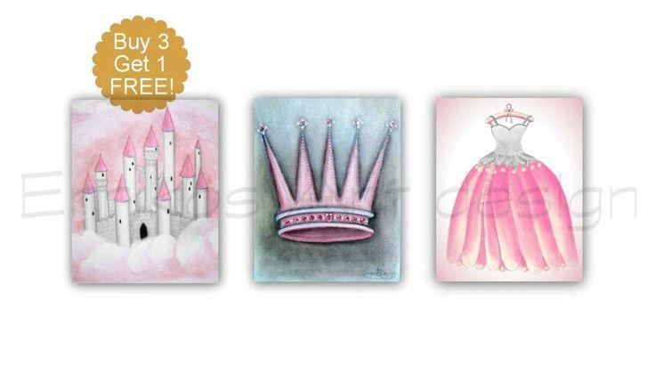 Girl Nursery decor, Princess Castle, Dress, Crown Wall Art, SET 3, Pink Grey, Princess decor, Baby girl nursery, Cinderella room wall art
