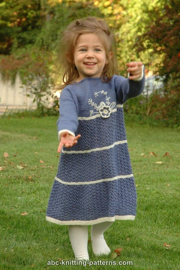 ABC Knitting Patterns - Blue Porcelain Girl's Lace Dress