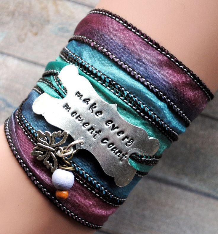 Zijden wikkelarmband, yoga armband, handgestempeld, make every moment count #143 door MystiqueSieraden op Etsy