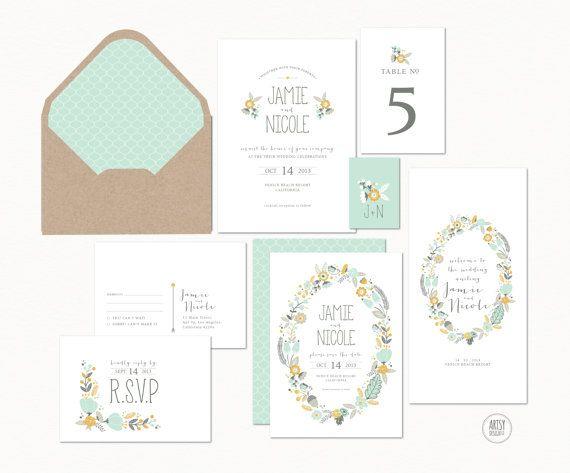 BOHEMIAN RUSTIC WEDDING Invitations - Floral Wreath - Printable Designs on Etsy, $45.00