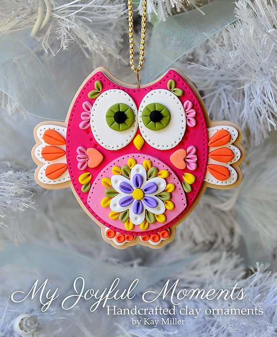 *POLYMER CLAY ~ Handcrafted Polymer Clay Owl Ornament