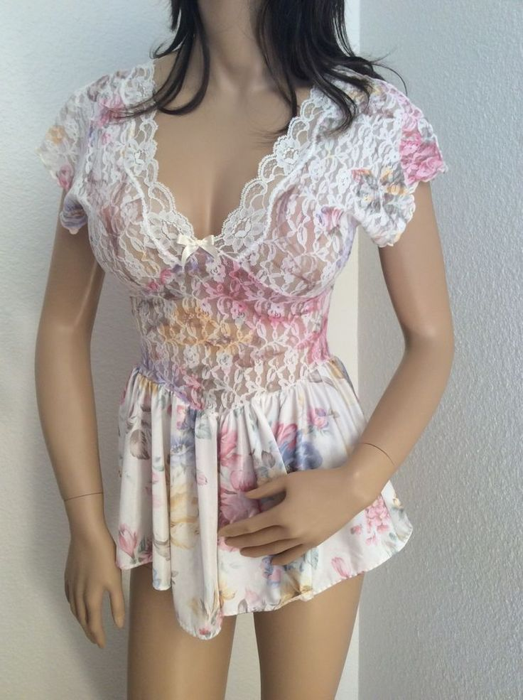 Vtg Olga Style Nylon Stretch Lace Babydoll Nightgown By Vandemere Size Small #Vandemere