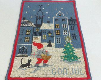 Vintage Swedish Wall Hanging Cross Stitch God Jul  Happy Christmas Holiday Greetings Best Wishes 15 Inches x 25 Inches Vintage Christmas