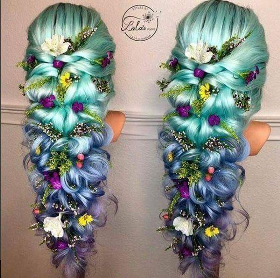 longue fleur de mariage ornée de cheveux tressés blonds lavande verte et verte décorée