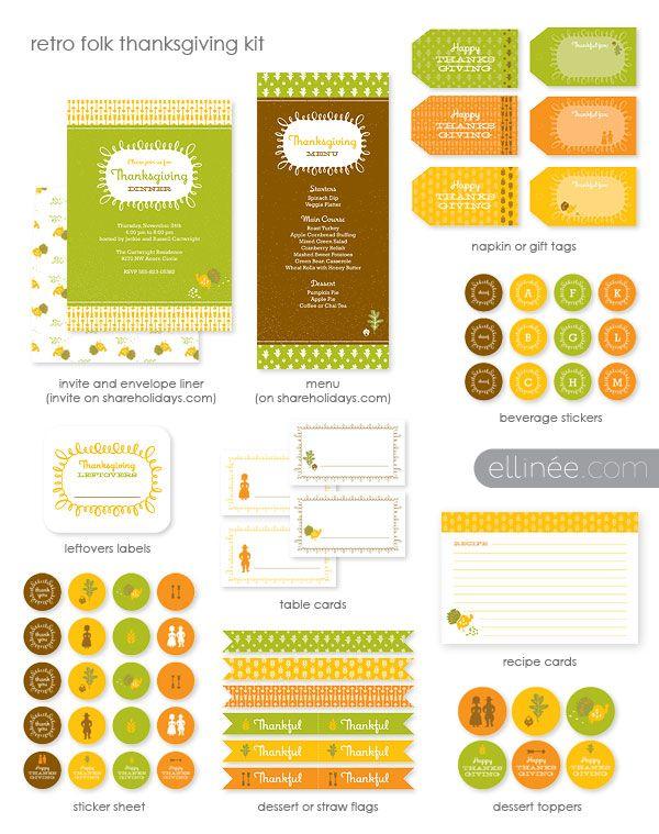 Retro Folk Thanksgiving Kit - Free Printables: Thanksgiving Ideas, Free Thanksgiving, Folk Thanksgiving, Printable Labels, Diy Retro, Free Printable, Retro Folk, Thanksgiving Printable, Thanksgiving Places Cards