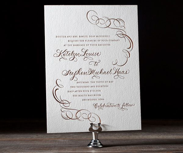 Letterpress Wedding Invitations | Ornate Flourish Design | Bella Figura Letterpress
