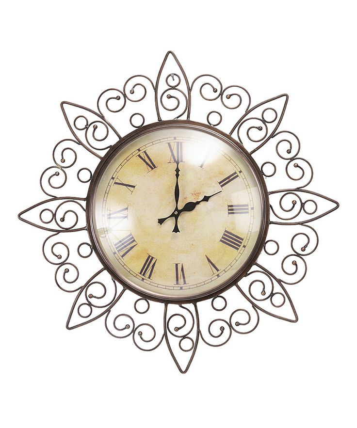 Floral Design Iron Frame With Copper Finish Vintage Decorative Wall Clock.