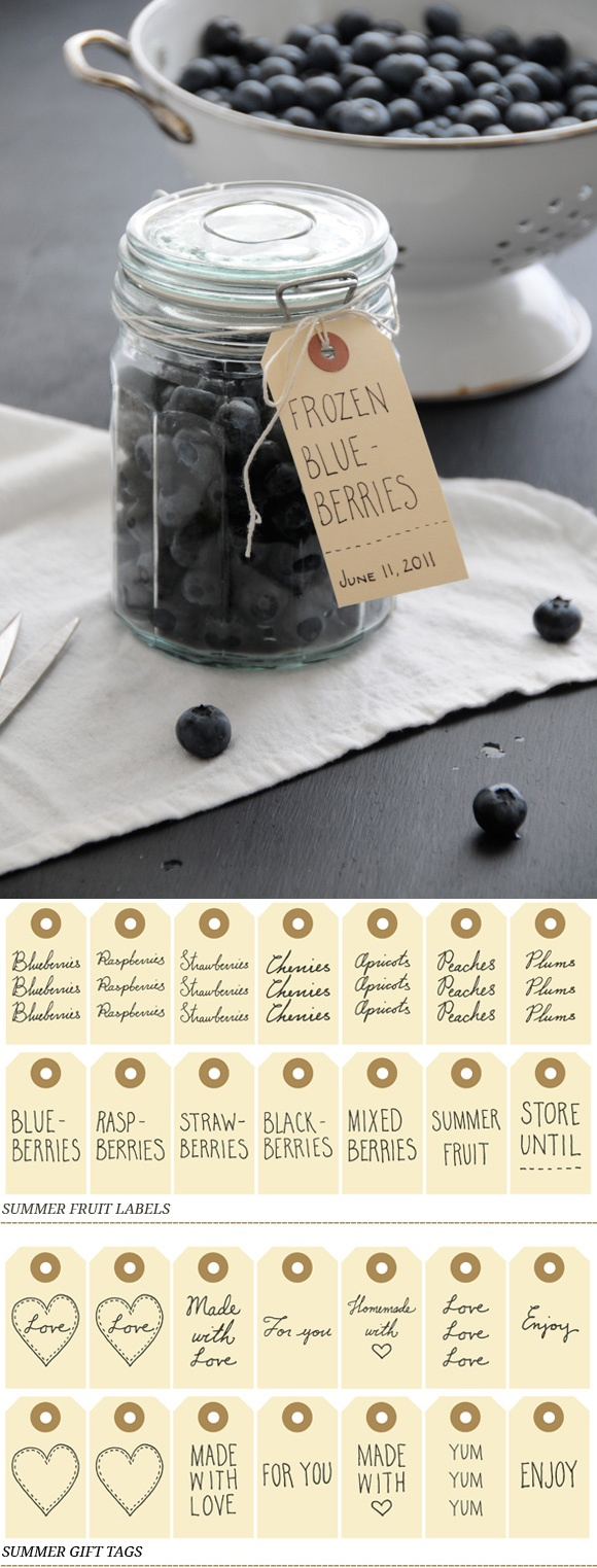 free printable summer fruit labels or gift tags - from Creature Comforts: www.creaturecomfo...