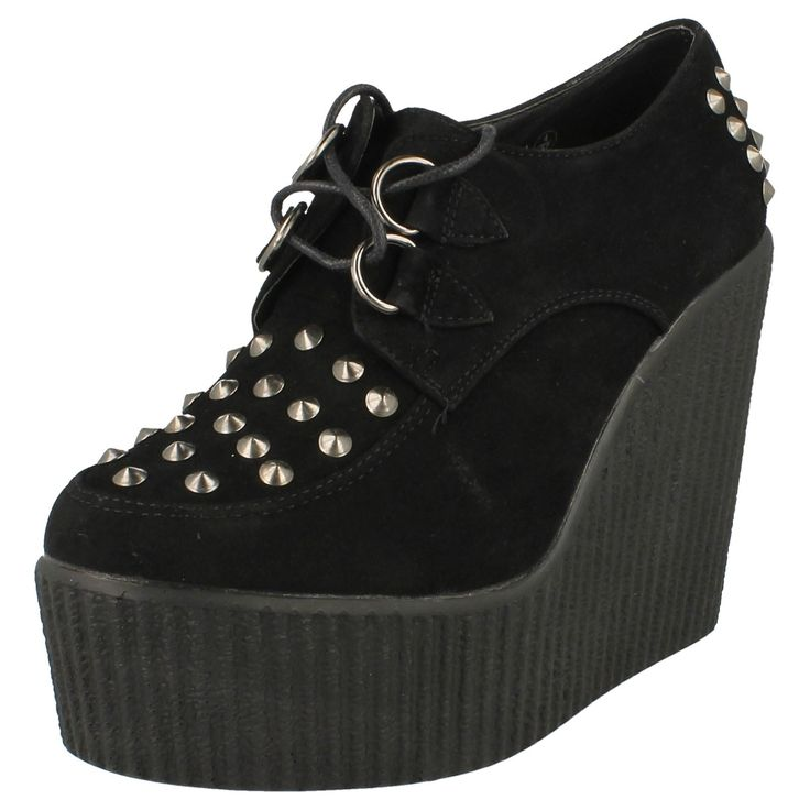 Ladies-Spot-On-High-Platform-Wedge-Shoe-Lace-Up-Studded-Heel-And-Vamp
