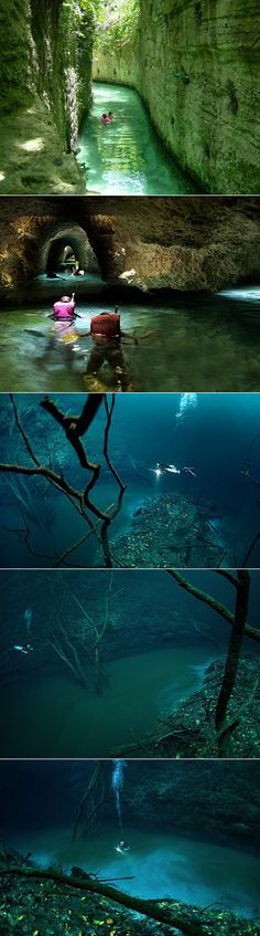 Underwater River in Mexico (Cenote Angelita). Underneath the water of Cenote Angelita is another flowing body of water. The river is full of hydrogen sulfate, which is much heavier than normal salt water. When it sinks to the bottom, it forms a flow of its own.