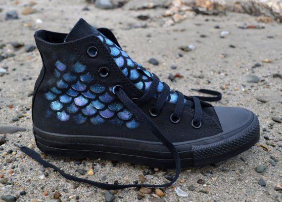 Mermaid Converse, Mermaid Shoes, Custom Converse, Little Mermaid, Mermaid Gift, Mermaid Cosplay, Painted Converse, Mermaid Tail