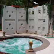 Above ground, free standing rain collection wall. Collects 71 gallons and you can easily connect as many modules as you want to water your gardens or wash your car with.