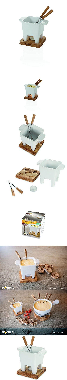 Boska Holland Tealight Cheese & Chocolate Fondue Set Tapas, White   Life Collection