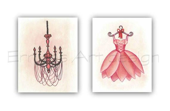 French Nursery Art SET 2 Prints Ballet Ballerina Dress Wall