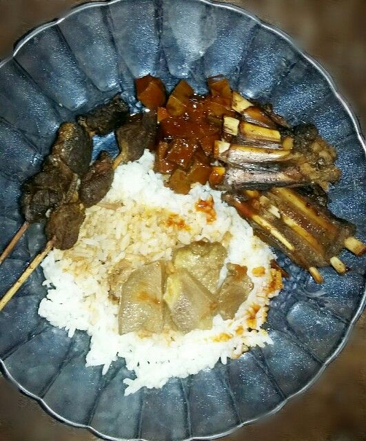 Sate, ribs, liver