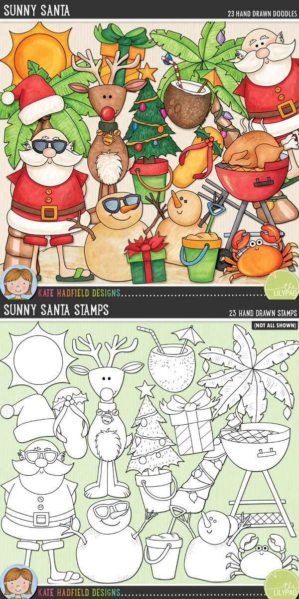 """Tropical Christmas digital scrapbooking elements   Cute sunny Santa clip art - perfect for Christmas """"Down Under""""!   Hand-drawn doodles for digital scrapbooking, crafting and teaching resources from Kate Hadfield Designs! Click to see projects created using these illustrations!"""