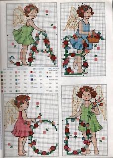 ABC angel girl alphabet with flowers -- freebie