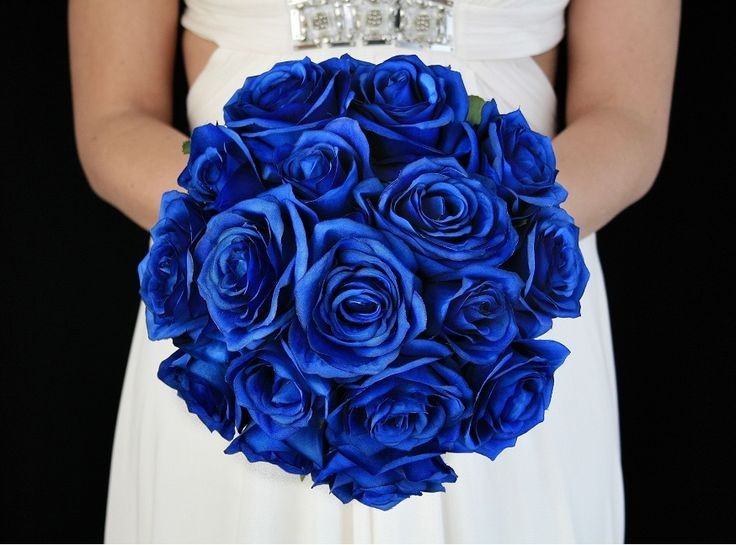 Royal Blue Brides Bouquet.  Complete wedding flower package with Bride, Maid of Honor, Throw Bouquet, Groom and Bestman for only $100