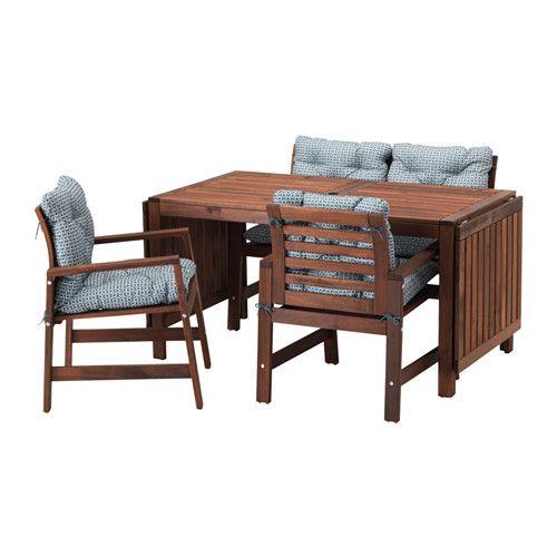 ÄPPLARÖ Table, 2 armchairs + bench, outdoor, brown stained, Ytterön blue Äpplarö brown stained/Ytterön blue