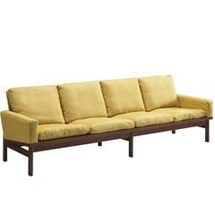 Danish Curved Sofa in Yellow and Brown Velours For Sale at 1stdibs