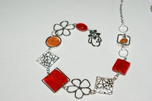 Orange and red long necklace - Modern long necklace