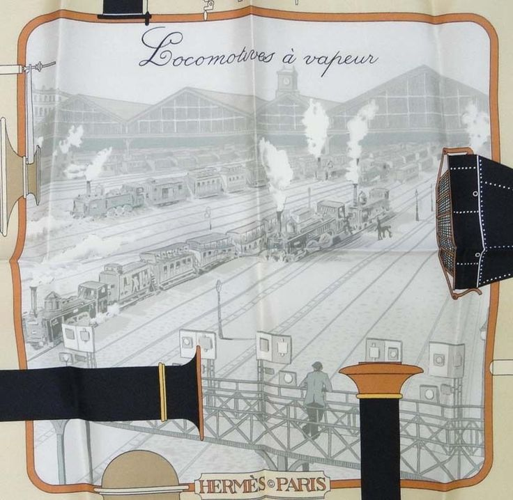 "New Authentic HERMES Locomotives a VapeurHermes Silk 90 cm Shawl Scarf 35"" #Hermes #Scarf"