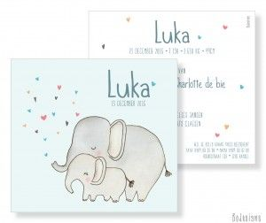 geboortekaartje olifant illustratie by Bodesigns - birth announcement - illustration - elephant www.bodesigns.be