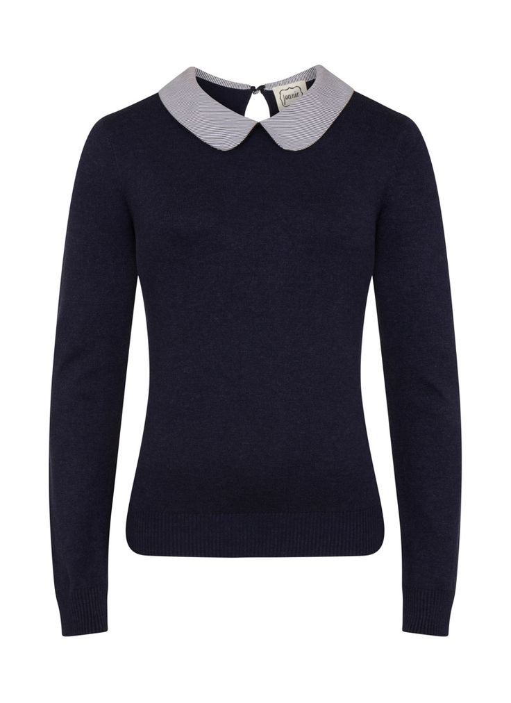 Lil Peter Pan Collar Jumper has a contrast stripe collar, button keyhole detail at the back neck and super soft feel. Perfect for work or weekend!