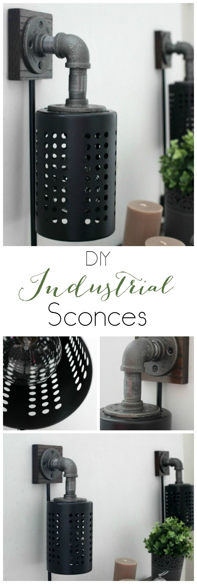 DIY Industrial Sconces! Love this DIY Lighting. Would fit perfectly into any industrial or rustic decor!