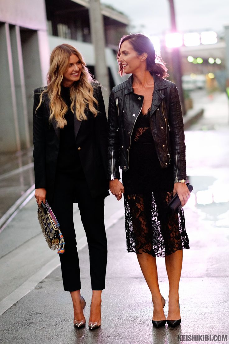 Elle Ferguson & Tash Sefton twinning in all black outfits