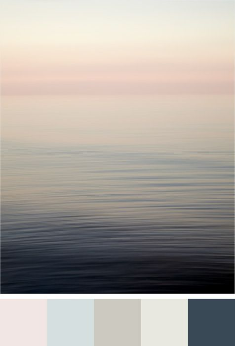 Benjamin Moore Color Trends 2017 - Color Palette – Pink Bliss, Iceberg, Wish, Cloud Cover, Gentleman's Gray - Shown with abstract pink beach wall decor Bubblegum Elephant by Jennifer Squires