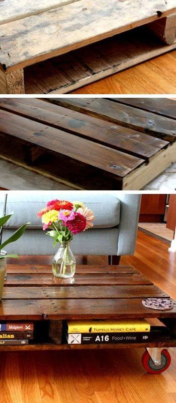 A GREAT idea for turning wood pallets into an 'industrial' looking coffee table for your home! Stain them dark, cover with a few coats of polyurethane, attach heavy duty black rollers and there you have it... 'instant' CHIC home decor!  ;o)