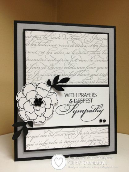 """By Cindy Brumbaugh. Flower from Stampin' Up """"Secret Garden,"""" branch from Stampin' Up """"Bird Builder"""" punch, background text from Stampin' Up """"En Francais,"""" and sentiment from My Sentiments Exactly."""
