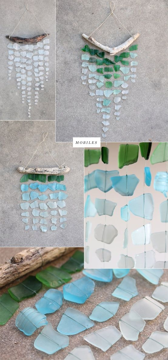 Sea Glass Gift Ideas, string sea glass to a branch for a beautiful mobile. #Glass # Craft and #Ideas //Manbo