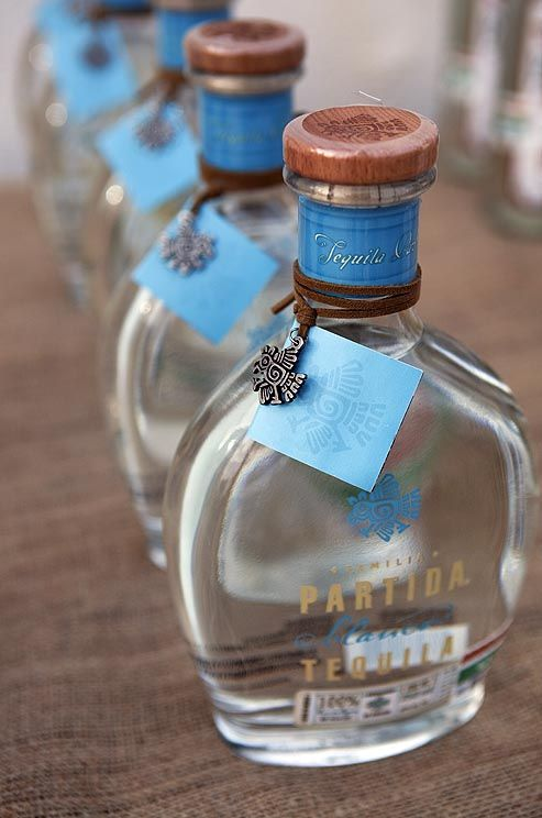 Favors of Partida Tequila.  Colin Cowie Weddings