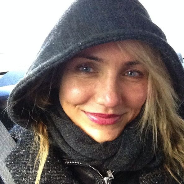 Cameron Diaz bundles up for a selfie.Dec 18th 2013