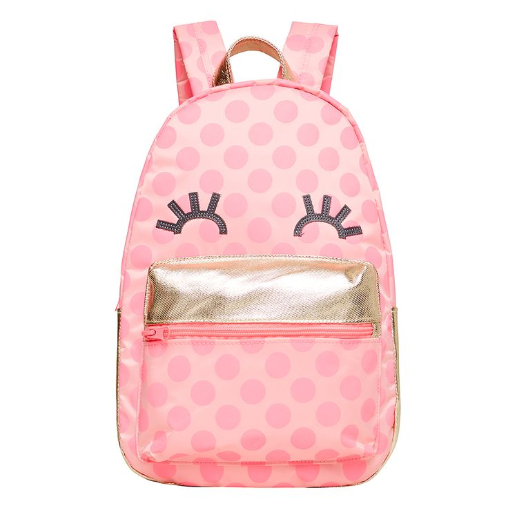 Kids mini backpacks. Available in 2 fun designs- polka dot face for girls, and a cheeky stripe for boys. Width 23cm, Height 34cm.