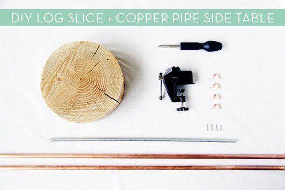 Machen Sie Es Diy Kupferrohr Und Holzscheibe Beistelltisch Beistelltisch Diy Beistelltischbeistelltisch Diy Holzs In 2020 Copper Diy Wood Slices Upcycle Decor