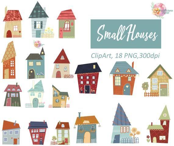 Houses Clipart Set Clip Art Set Of Houses Bright Houses Etsy Clip Art Art Set House Clip Art
