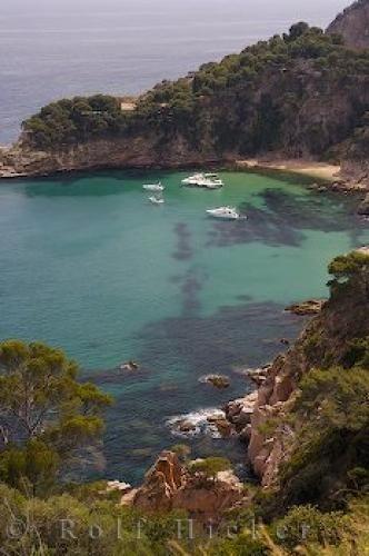 Hidden bay along Costa Brava coastline in Catalonia, Spain