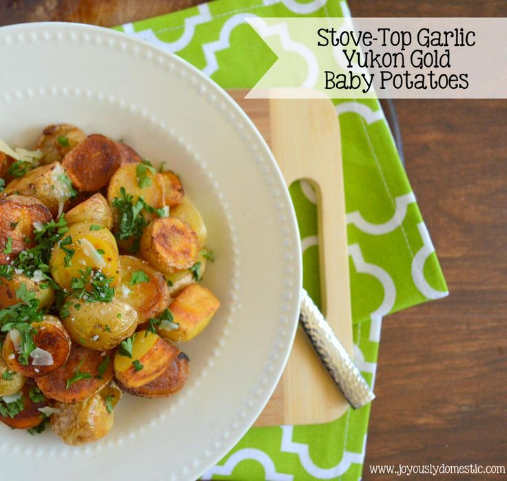 Twenty-Minute Garlic Yukon Gold Baby Potatoes {Stove-Top Method} | www.joyouslydomestic.com