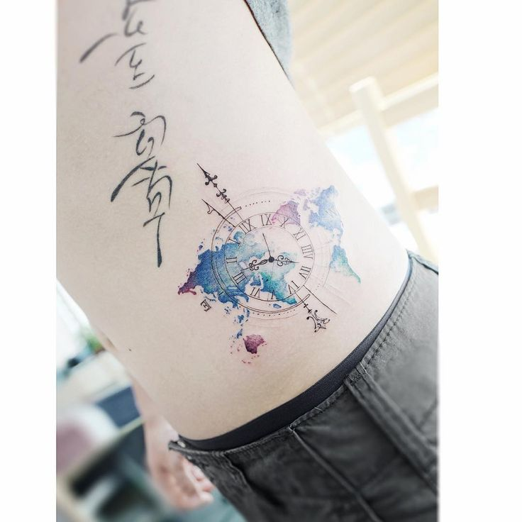 : World map 🌍  (Lettering is not my work)  .  .  #tattooistbanul #tattoo #tattooing  #worldmap #geometry #geometrytattoo #colortattoo  #타투이스트바늘 #타투 #컬러타투 #세계지도타투 #기하학타투