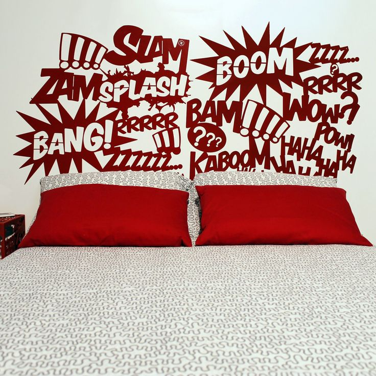 BANG headboards , headboards for double bed with modern design made of metal with laser cutting technology , inspired by the fantastic world of comics . Idea wedding gift . Passion comics . www.nikla.eu