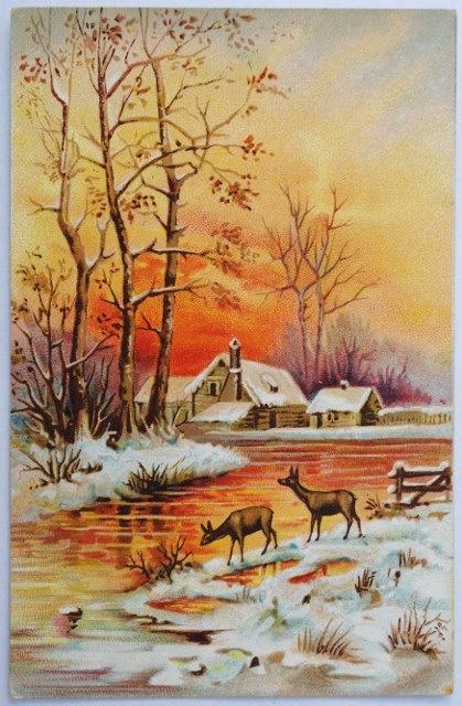Gorgeous! Vintage Snowy Farmhouse Christmas Card ~ Abundantly Orange!
