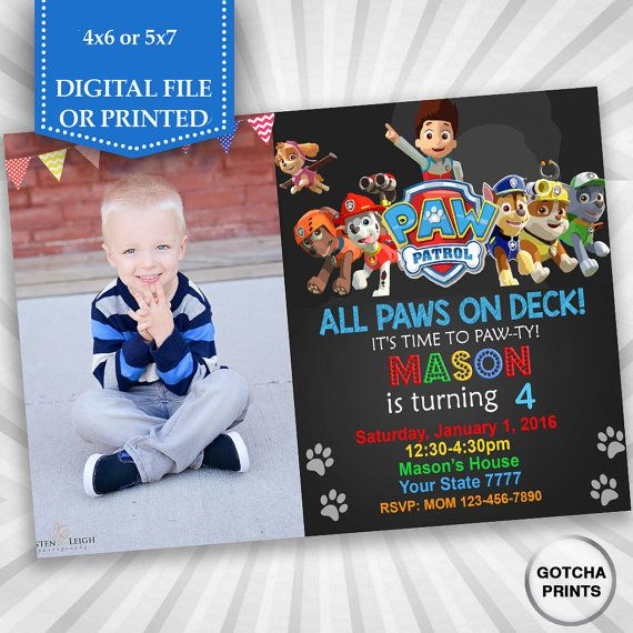 Paw Patrol Invitation  Paw Patrol Birthday  Paw by gotchaprints